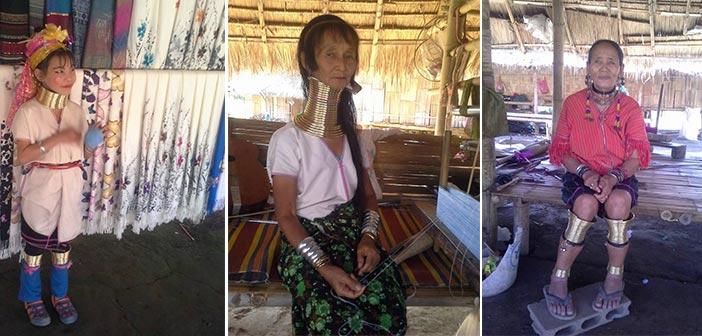 Para perempuan di Kampung Leher Panjang yang mengenakan kalung dan gelang kaki kuningan di Kampung Leher Panjang Karen. (Foto: Zyad Rochmad Jaelani)