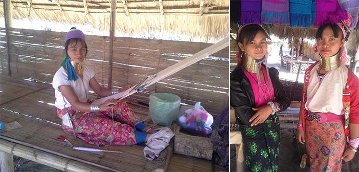 Aktivitas penduduk Kampung Leher Panjang Karen, memintal benang dan berfto untuk pengunjung. (Foto: Zyad Rochmad Jaelani)