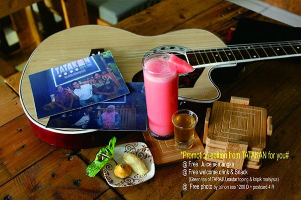 Paket promo gratis welcome drink dan snack Tatakan Cafe & Resto. (Foto: Tatakan Cafe & Resto)